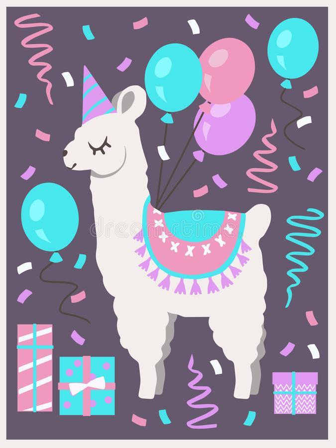 Cute white Llama or Alpaca with party hat, gift boxes, balloons and confetti birthday greeting card. Vector art motive stock illustration
