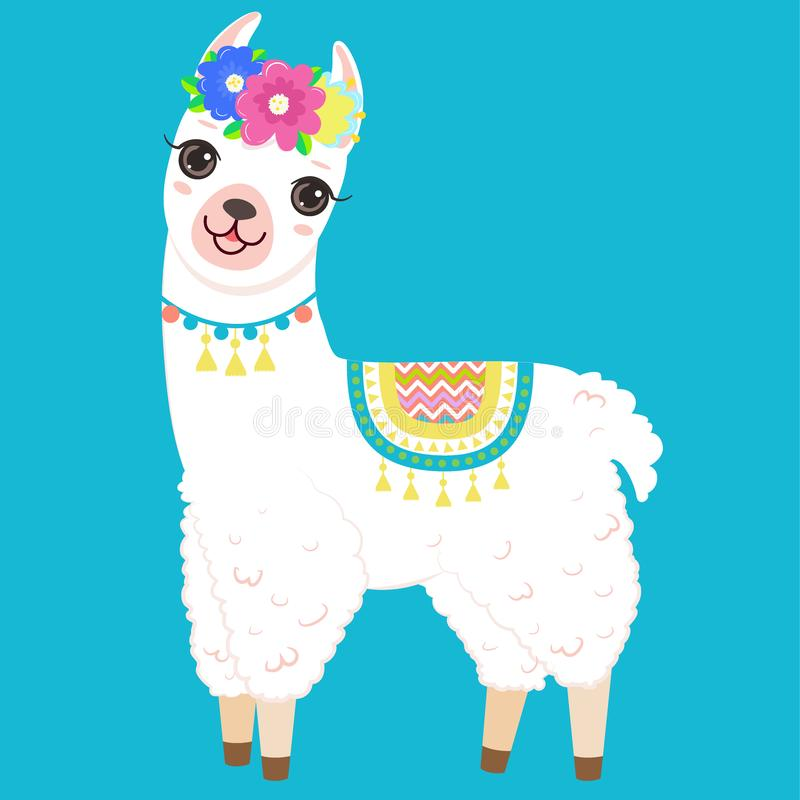 Cute White Llama With Colorful Flowers On The Head Stock ...