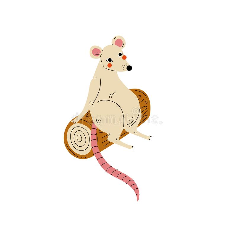 Cute White Mouse Sitting on Log, Rodent Animal Character Having Hiking Adventure Travel or Camping Trip Vector stock illustration