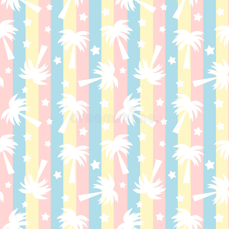 Cute white palm trees silhouette on colorful stripes seamless pattern background illustration. Cute white palm trees silhouette on colorful stripes seamless vector illustration