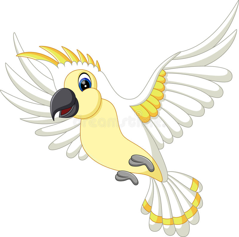 Cute white parrot flying vector illustration