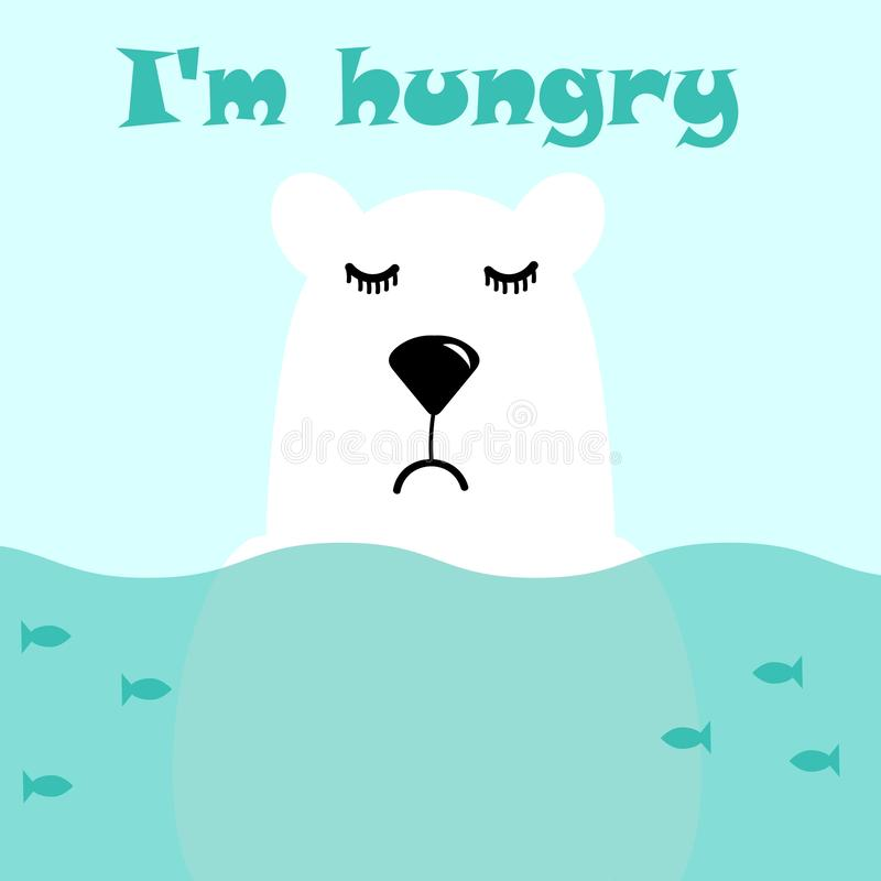 Cute white polar bear is standing in the water, fish are swimming around him, he is sad and hungry. Vector illustration and stock illustration