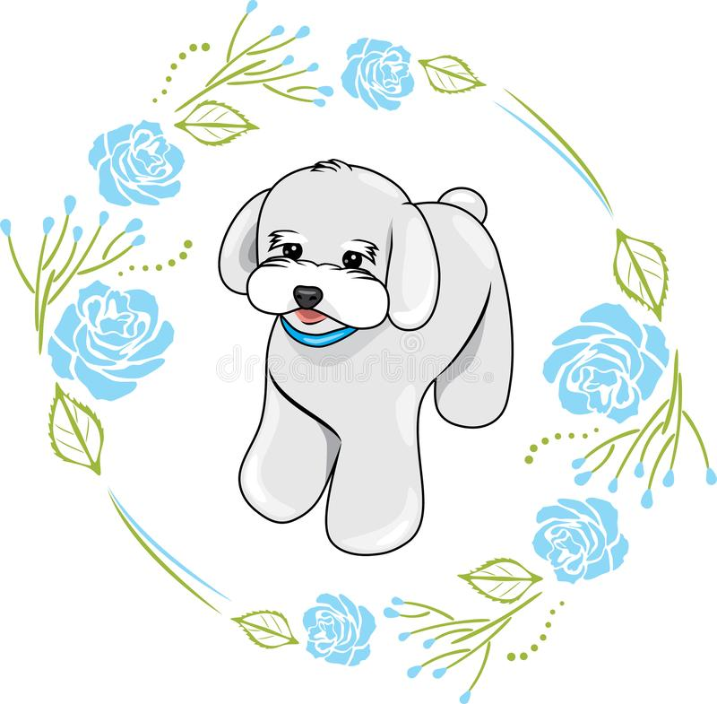 Cute white puppy in a frame with blue roses royalty free stock images