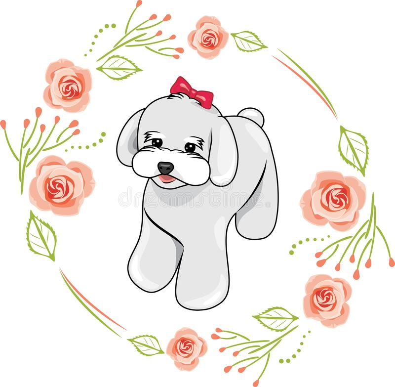 Cute white puppy in a frame with pink roses stock image