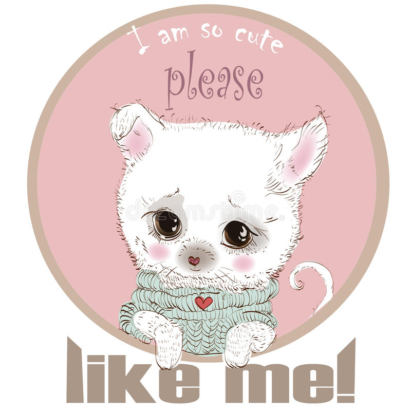 Cute white puppy spitz stock illustration