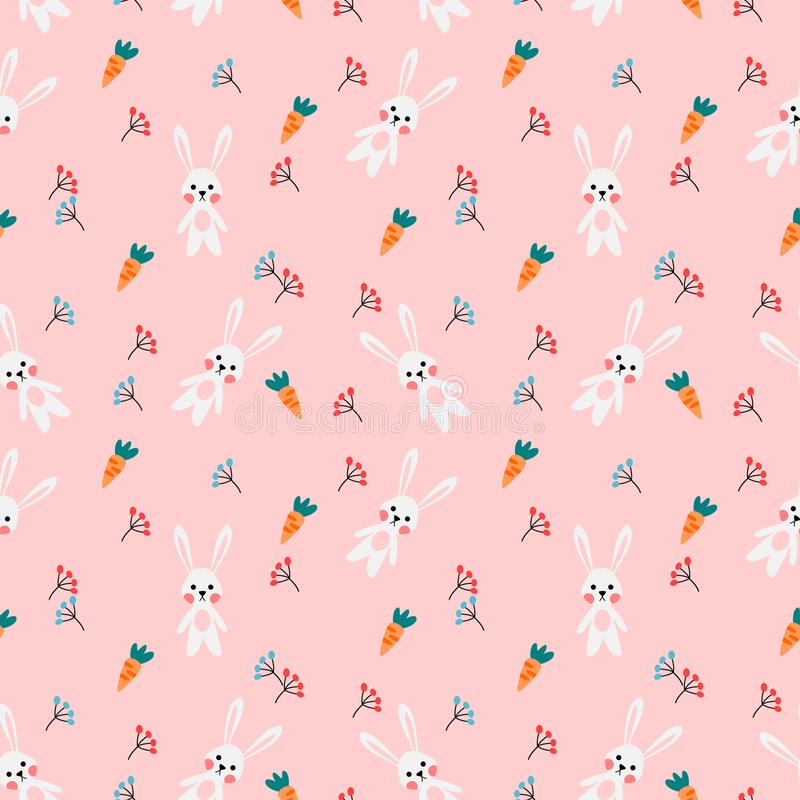Cute white rabbit and carrot on pink background. Seamless pattern vector of cute white rabbit and carrot on pink background vector illustration