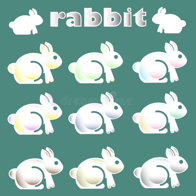 Cute white rabbit icon stock illustration