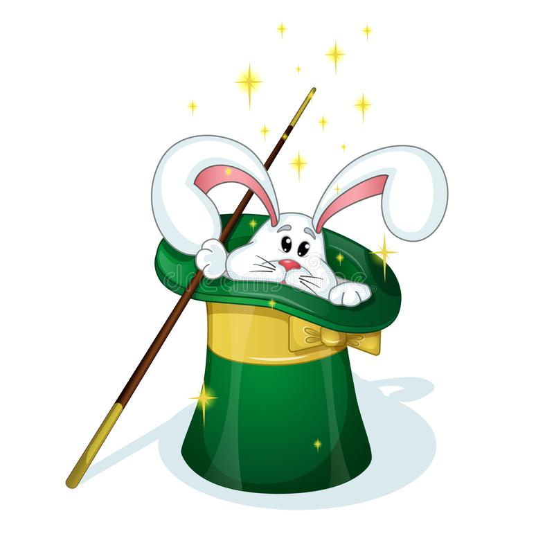 A cute white rabbit looks out from the green hat of the magician. Magic wand. A circus character in the style of a card. stock illustration
