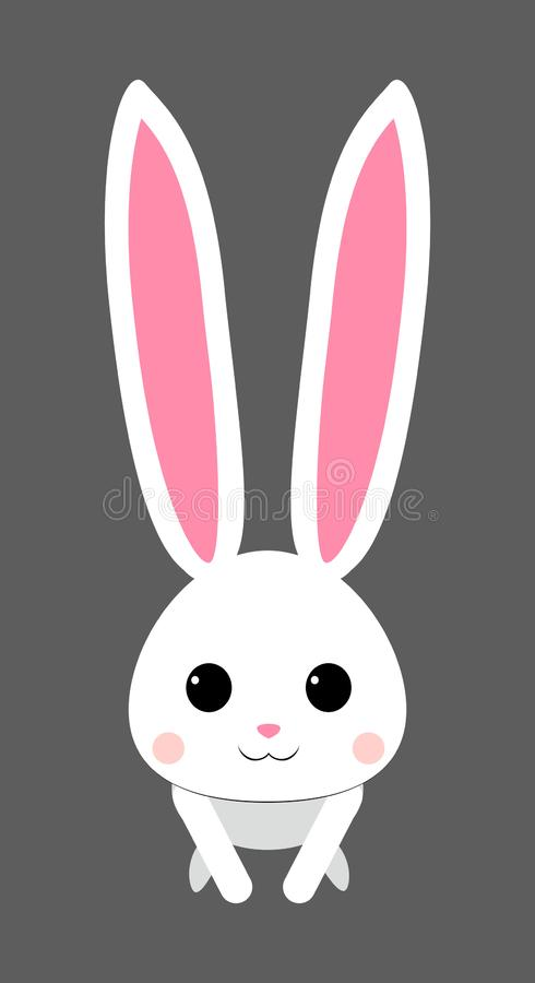 Cute white rabbit with pink snout. isolated vector stock illustration