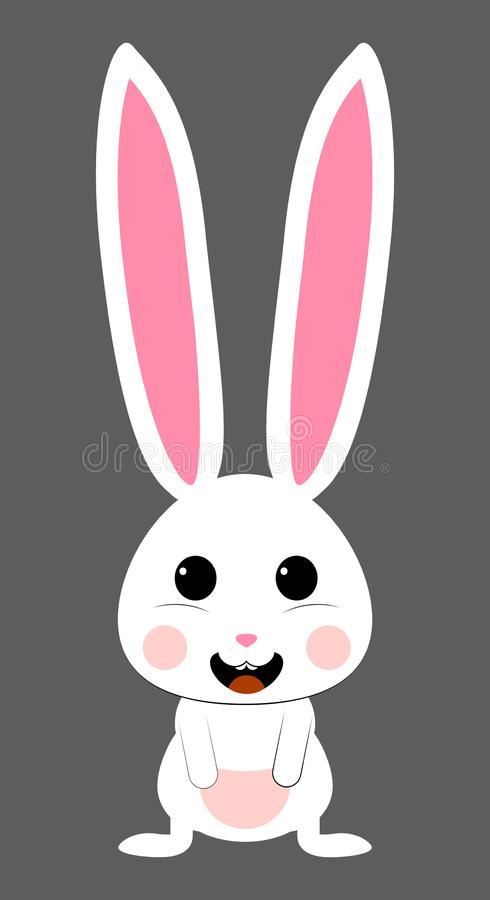 Cute white rabbit with pink snout. isolated vector vector illustration