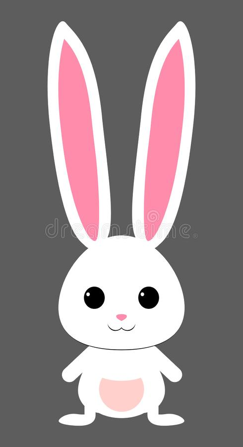 Cute white rabbit with pink snout. isolated vector royalty free illustration