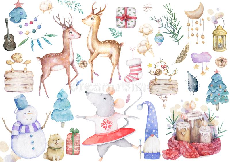 Big set cute watercolor cartoon animals and spruce tree. Watercolor hand drawn illustration. New Year 2020 holiday drawing. Cute white rat and mouse illustration stock illustration