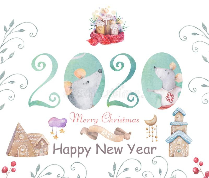 Cute cartoon christmas rat mouse christmas card. Watercolor hand drawn animal illustration. New Year 2020 holiday drawing. Cute white rat and mouse illustration royalty free illustration