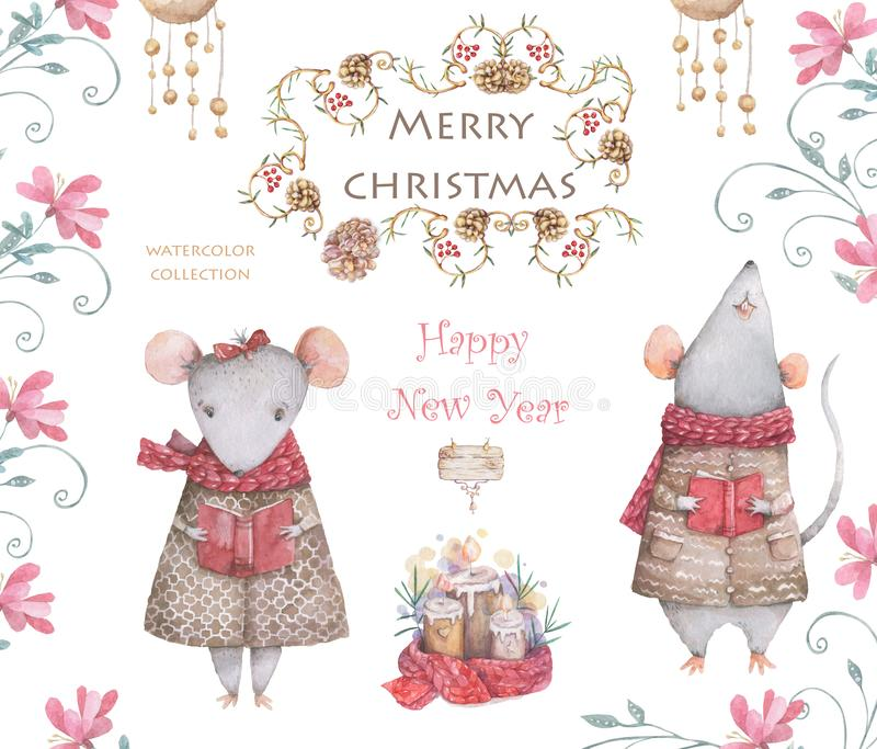 Cute cartoon christmas rat mouse christmas card. Watercolor hand drawn animal illustration. New Year 2020 holiday drawing royalty free illustration