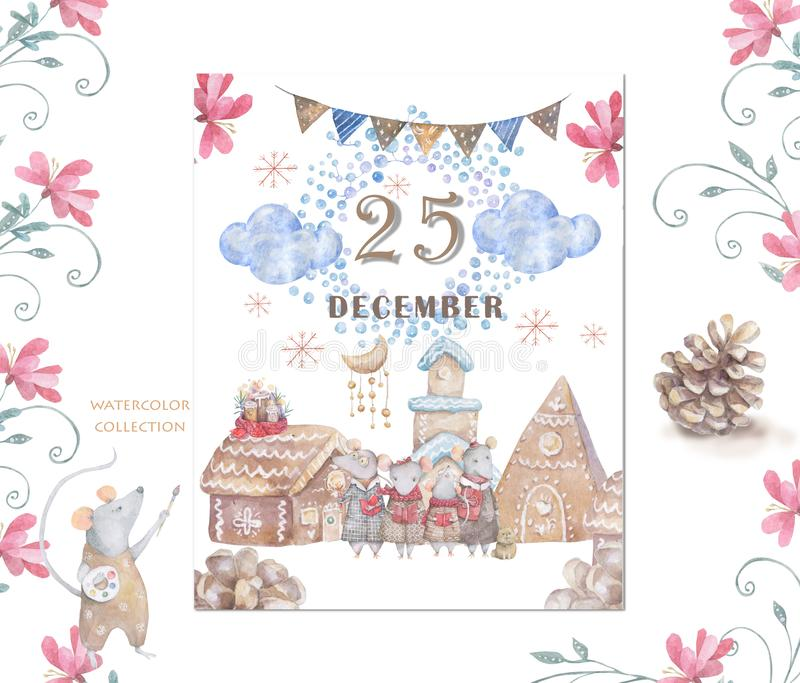 Cute watercolor cartoon rats and Gingerbread houses. Watercolor hand drawn animals illustration. New Year 2020 holiday drawing. Cute white rat and mouse stock illustration