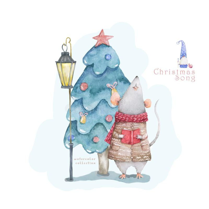 Cute cartoon christmas rat mouse and blue forest tree, vitage style lamp christmas card. Watercolor hand drawn animal illustration stock illustration