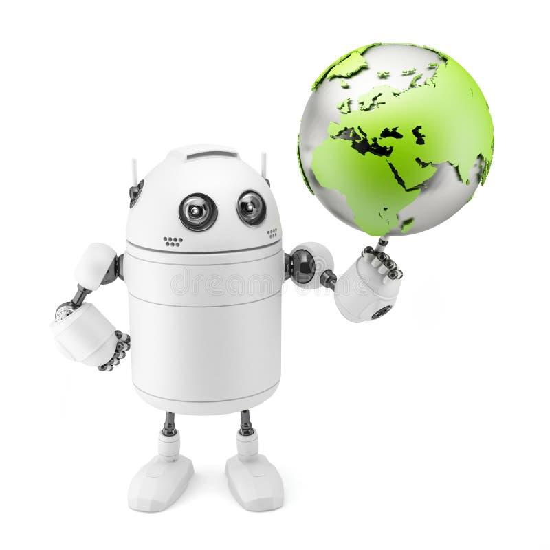 Cute white robot holding globe royalty free illustration