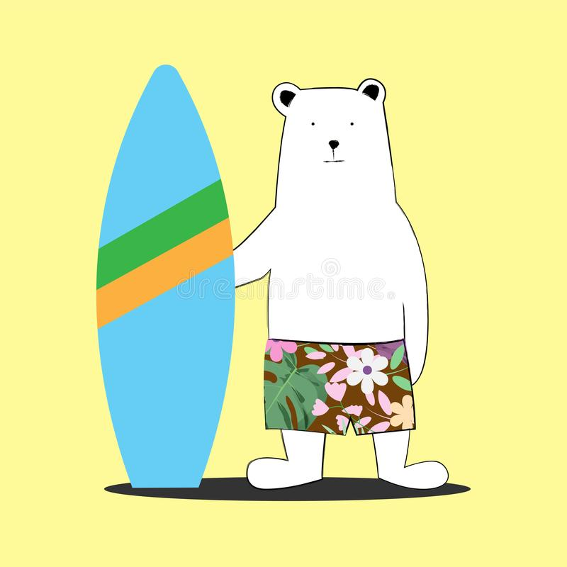 Cute white summer bear cartoon with surf board on yellow. stock illustration