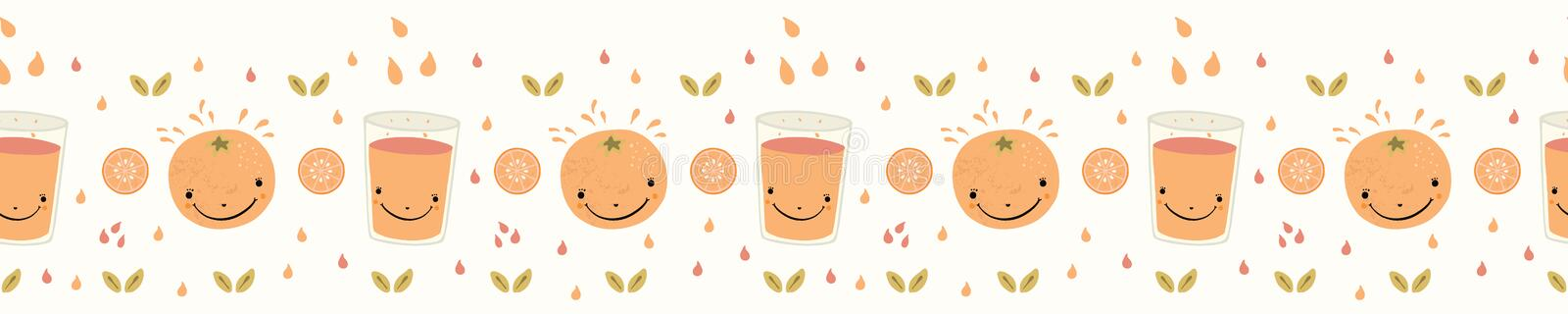 Cute whole orange citrus fruit cartoon with glass of juice royalty free illustration
