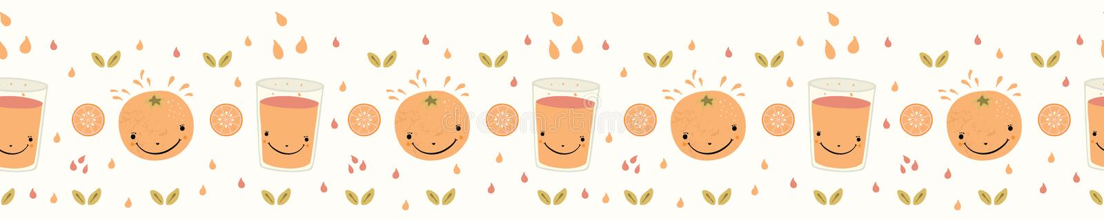 Cute whole orange citrus fruit cartoon with glass of juice. Hand drawn seamless vector border illustration. stock illustration
