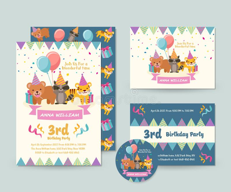 Cute Wild Animal Theme Happy Birthday Invitation Card Set And Flyer Illustration Template. Cute Children Happy Birthday Invitation Card Set And Flyer royalty free illustration