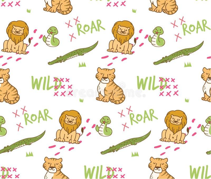 Cute wild animals seamless background stock illustration