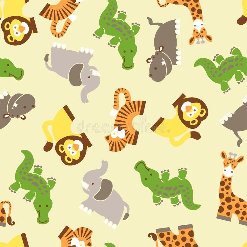 Cute wild animals seamless pattern royalty free illustration
