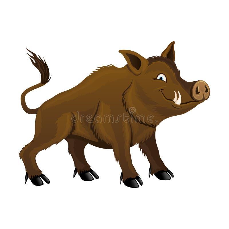 Cute wild boar. stock illustration