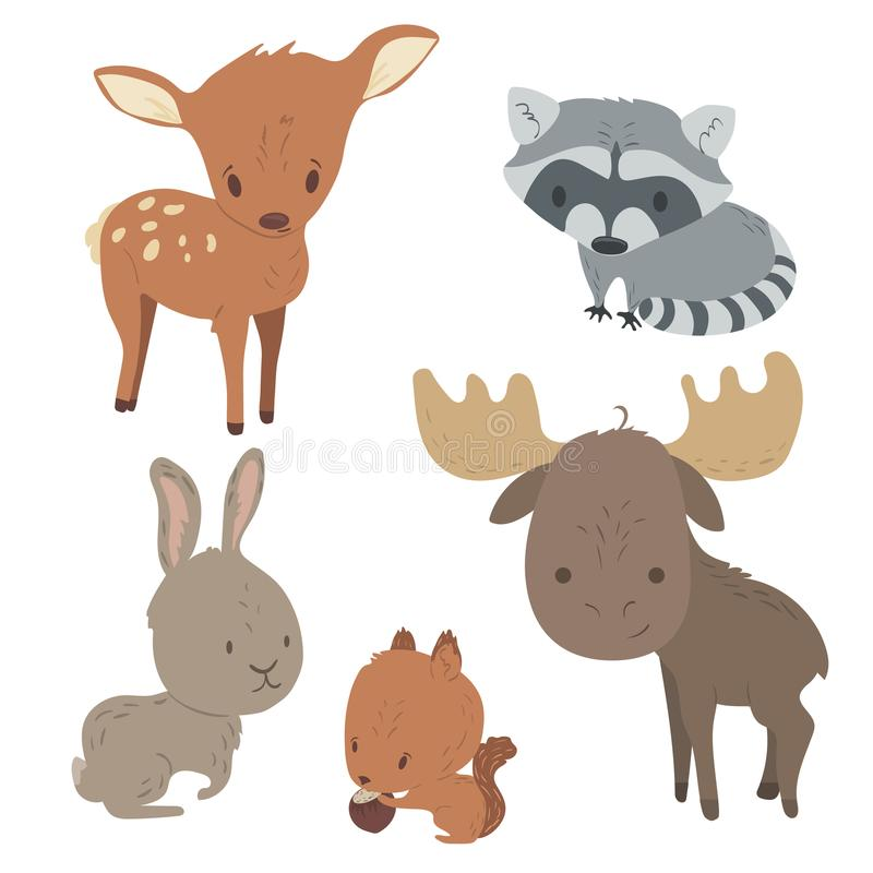 Cute wild forest animals set. Forest animals set with isolated cartooning deer moose raccoon rabbit squirrel stock illustration