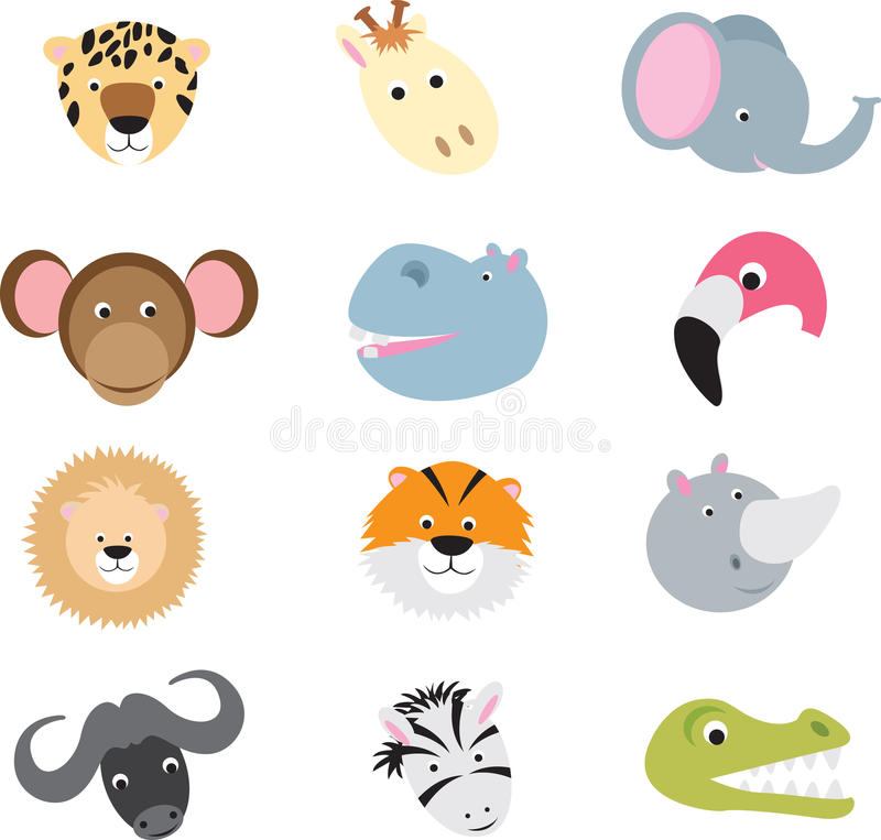 Cute Wild Safari Animal Cartoon Set Stock Images