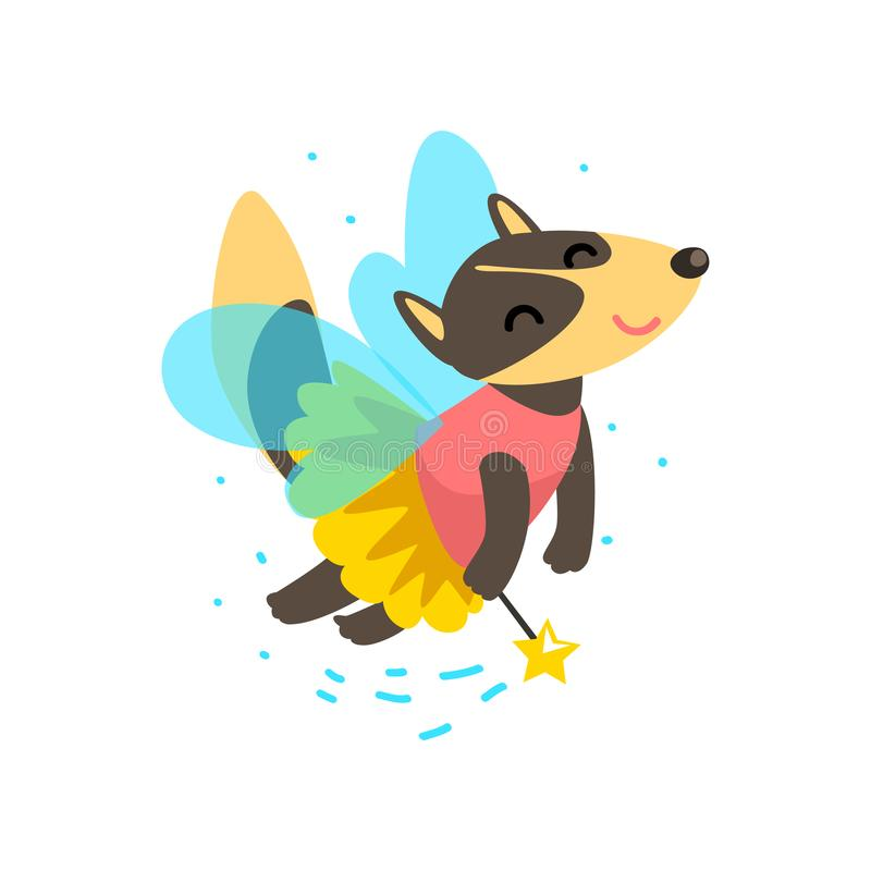 Cute winged wolf flying with a magic wand, fantasy fairy tale animal cartoon character vector Illustration royalty free illustration