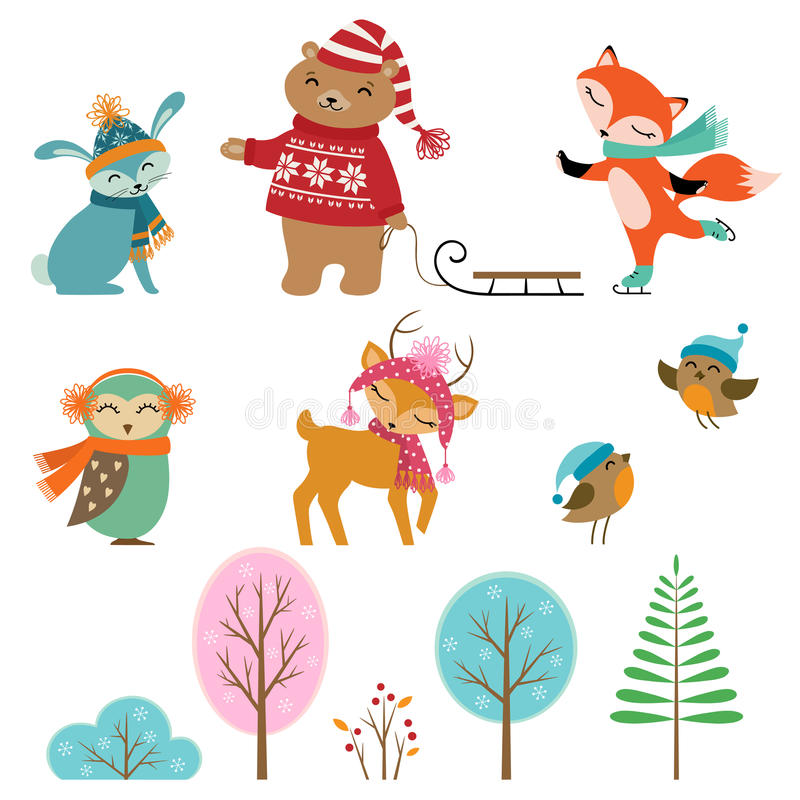 Cute winter animals. Set of cute winter animals and trees for your design