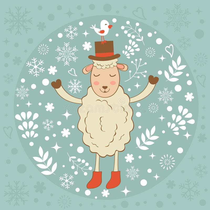 Cute winter card with sheep and bird. Vector illustration royalty free illustration