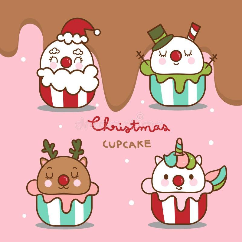 Cute Winter cupcakes Christmas vectoriel Kawaii cupcakes: Gâteau de Santa, garniture d'Unicorne, Snowman, art du cerf de pluie, d illustration libre de droits