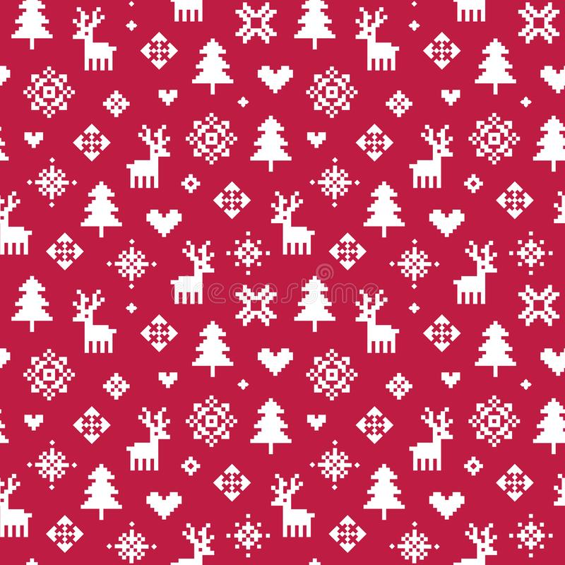 Cute winter forest pixel pattern red and white stock illustration