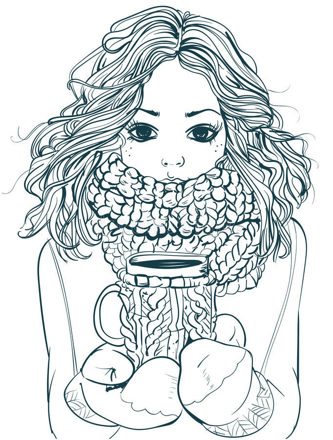 Cute winter girl with coffee cup royalty free illustration