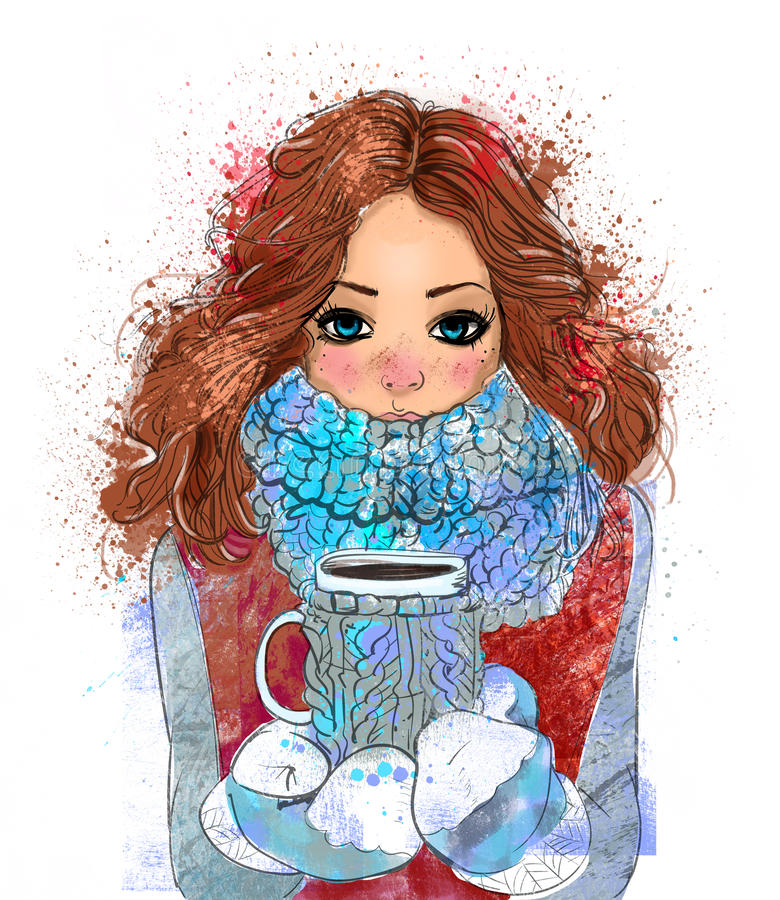 Cute winter girl with coffee cup. Portrait of cute winter cartoon girl with coffee cup vector illustration
