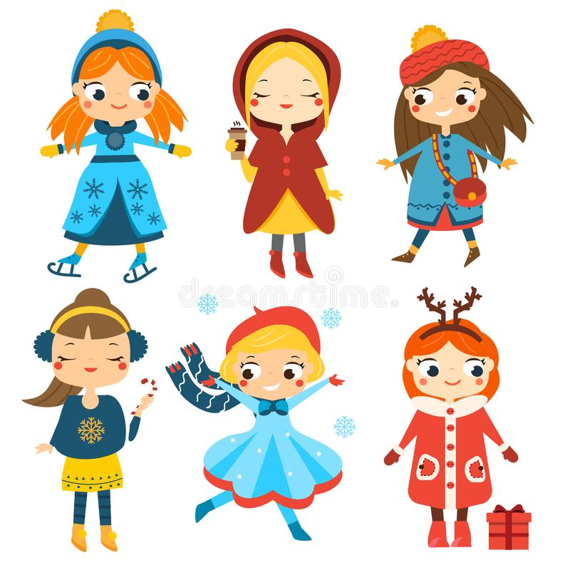 Cute winter girls set. Kids winter activity. Vector collection of cartoon female characters vector illustration