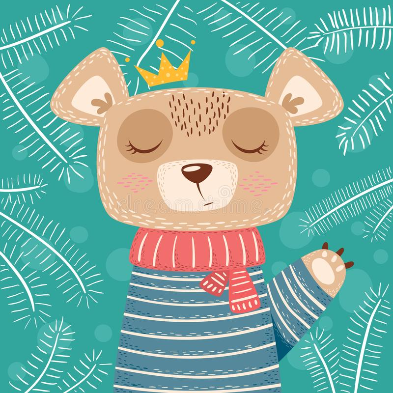 Cute winter illustration. Bear characters. stock illustration