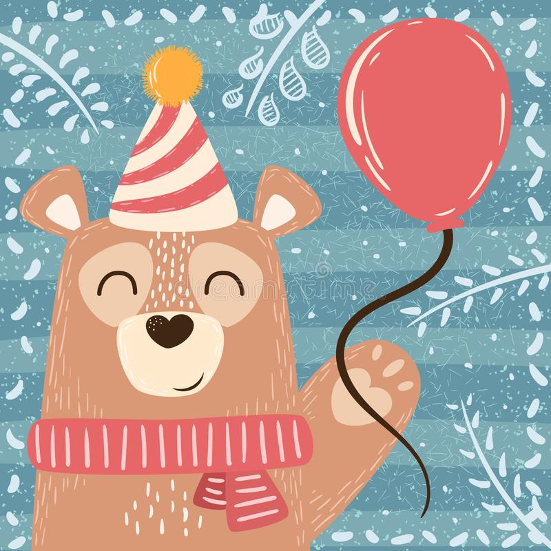 Cute winter illustration. Bear characters. royalty free illustration