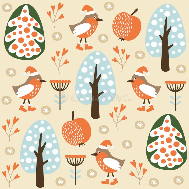 Cute winter seamless pattern with birds in the forest, vector illustration