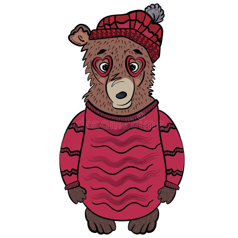 Cute winter teddy bear with glasses in shape of heart and in burgundy beret. Bear in a long crimson sweater. Fashion animals. The sweet feeling of love stock illustration