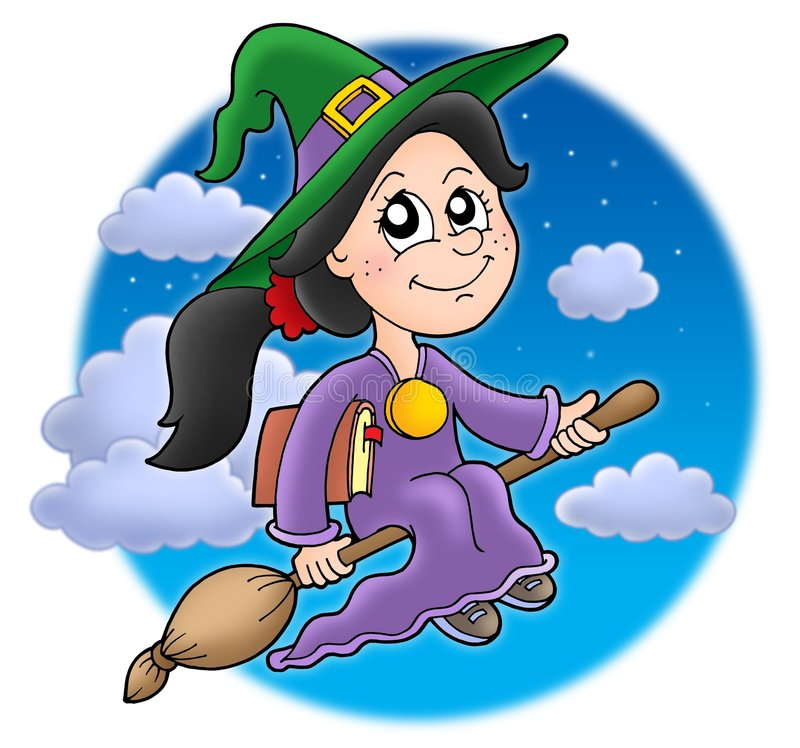 Download Cute witch on broom stock illustration. Illustration of creative - 7105647
