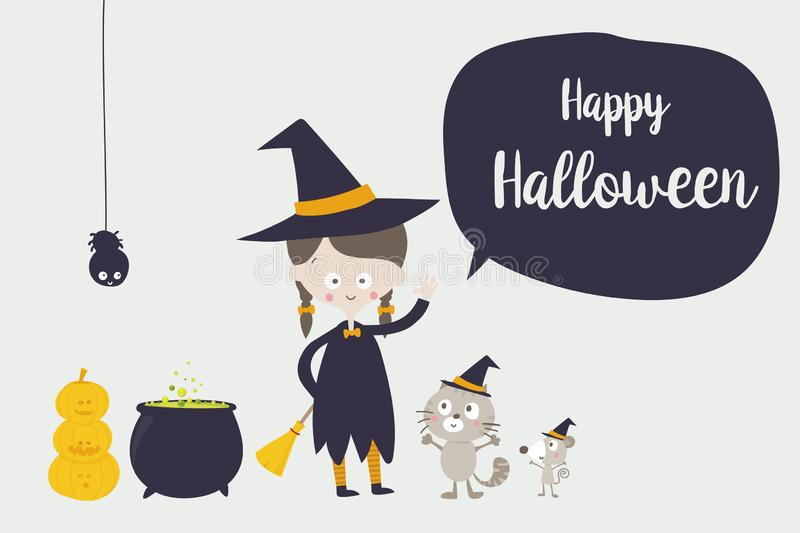 Cute witch cat spider and rat cartoon character 001 royalty free illustration