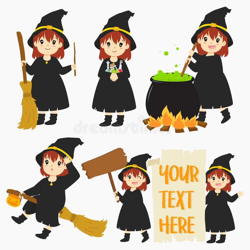 Cute Halloween Witch Vector Set royalty free stock photos