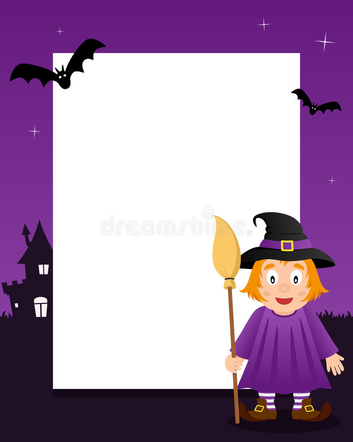 Cute Witch Happy Halloween Vertical Frame stock photography