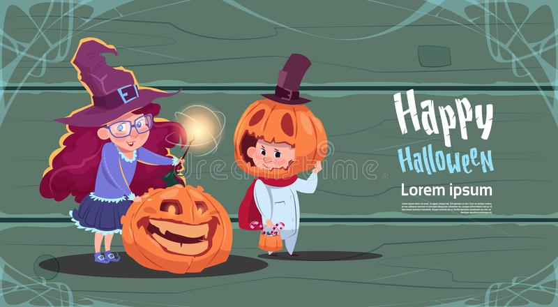 Cute Witch And Scarecrow, Happy Halloween Banner Party Celebration Concept vector illustration