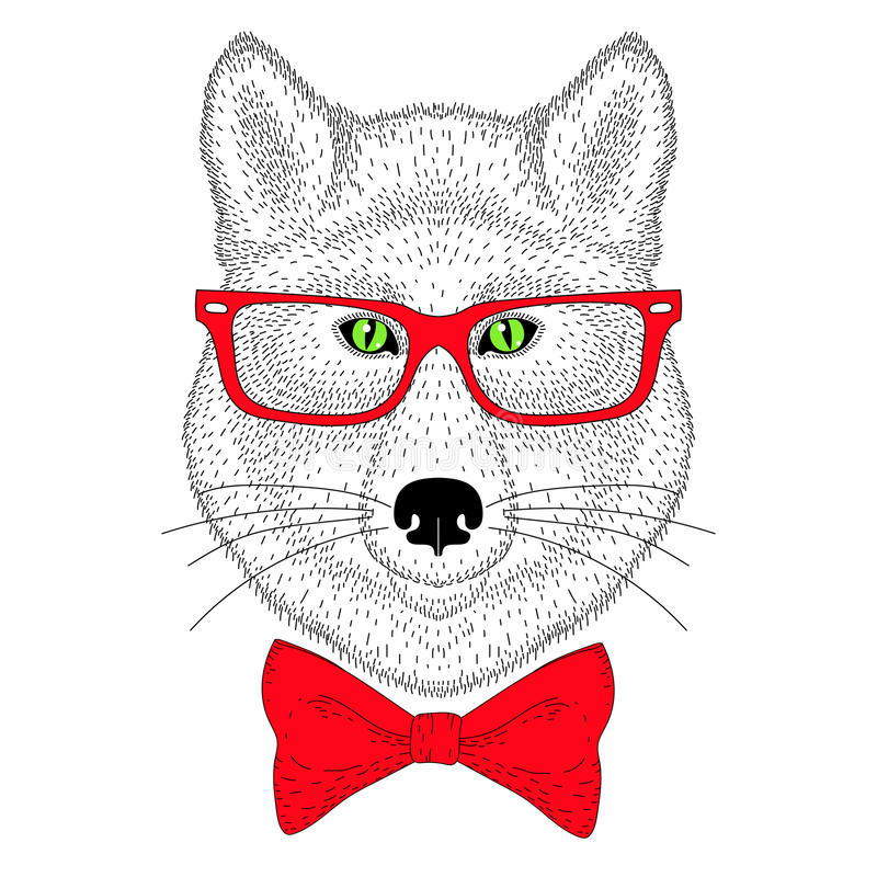Free Cute Wolf Portrait, Face With Bow Tie, Glasses. Hand Drawn Anthropomorphic Fashion Animal Illustration For T-shirt Print, Kids Gr Stock Image - 84844721