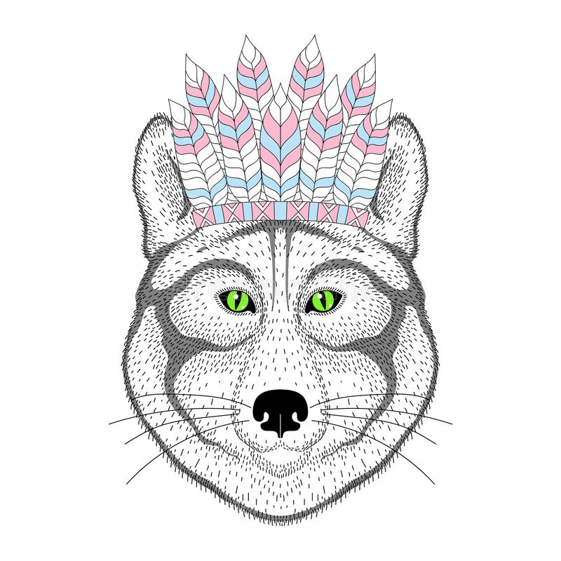 Cute wolf portrait with war bonnet on head. Hand drawn kitty face, fashion animal cartoon in aztec style, illustration for stock illustration