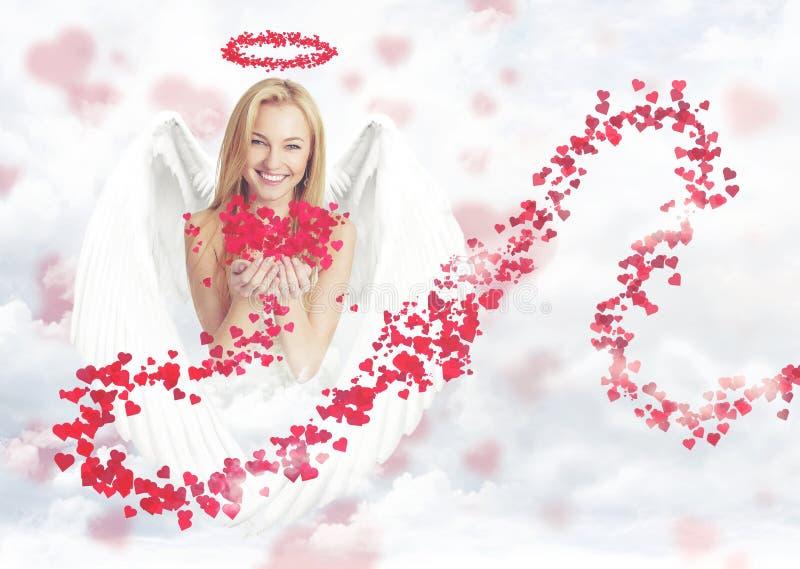 Cute woman as cupid royalty free stock photos